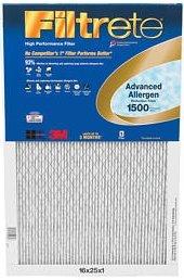 - 20x30x1 (19.7 x 29.7) Filtrete 1500 Advanced Allergen Filter by 3M (4 Pack)