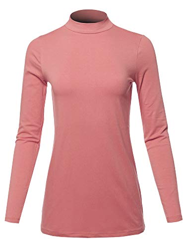 (Basic Solid Soft Cotton Long Sleeve Mock Neck Top Shirts Dusty Rose Size M)