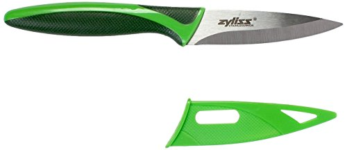 ZYLISS Paring Knife with Sheath Cover, 3.5-Inch Stainless Steel Blade, Green (Best Knife For Cutting Hard Salami)