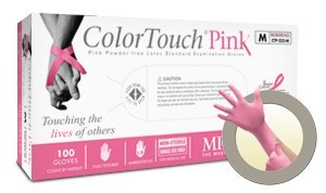 Microflex Colortouch Pink Powder Free Medical Grade Latex Exam Gloves (1000 Case) by Colortouch Pink