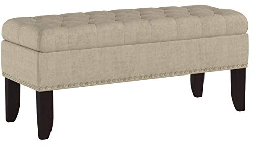 "Pulaski Hinged Top Button Tufted Bed Oatmeal Beige, 41.50"" L x 15.75"" D x 18.50"" H Upholstered Storage Bench,"