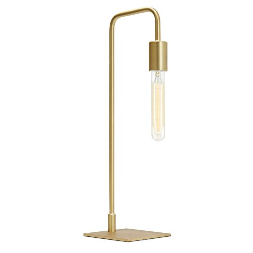 Brass Modern Table Lamp Light – Dimmable, Plugin, Edison Vintage Bulb Included, Metal Finish, Hoyt Collection by Brooklyn Bulb Co, ETL Listed For Sale