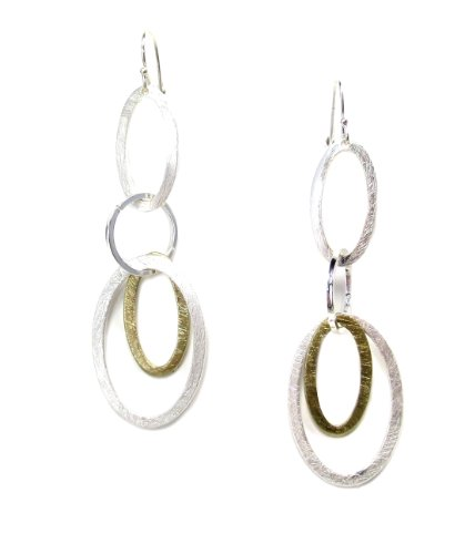 Takobia Silver Plated Brushed Satin Finish Two Tone Tiered Oval Geometric Hoop Dangle Earrings