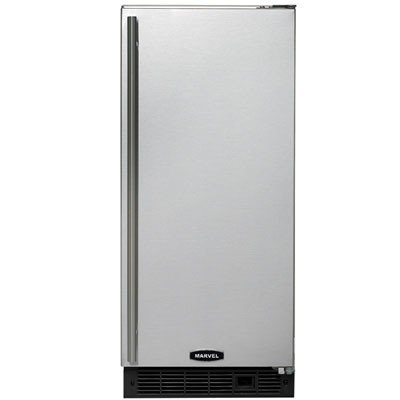 Marvel 30IMTBBFRP: Marvel Ice Machines - 30iMT with Drain Pump, Right Hinge, Black cabinet, BLACK full wrap door and bar handle
