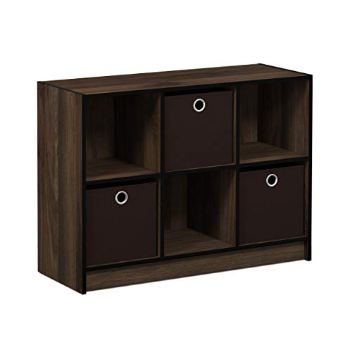 Walnut Storage Cube - Furinno 99940CWN/DBR Basic 3x2 Bookcase Storage with Bins, Columbia Walnut/Dark Brown