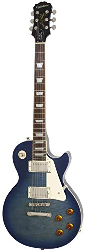 Guitar Custom Les Paul Gibson (Epiphone Les Paul STANDARD PLUS-TOP PRO Electric Guitar with Coil-Tapping, Translucent Blue)
