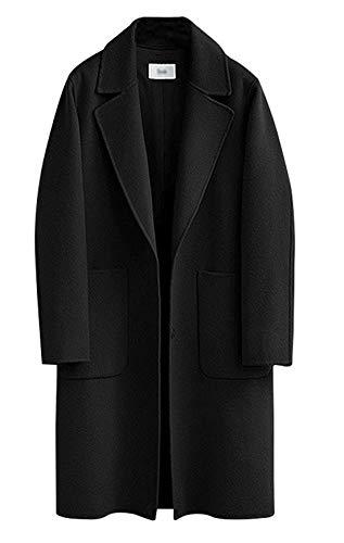 chouyatou Women's Plain Snap Button Up Single Breasted Long Wool Coat (X-Small, Black)