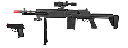 - 220 FPS Spring Powered M14 Airsoft Rifle & Pistol Combo w/Flashlight, Scope, and Red Dot