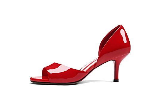 1TO9 Womens Spikes Stilettos Square-Toe Solid Pleather Heeled Sandals MJS02927 Red BpJYOIfK