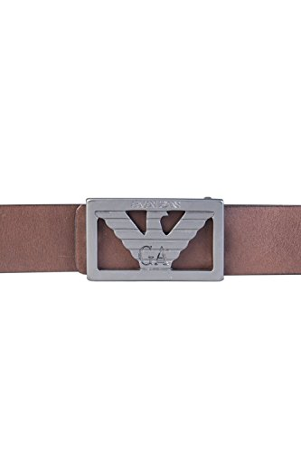(Armani Exchange Men's Leather Belt with Ga Buckle, black, IV)
