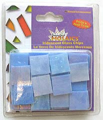 Jennifer's Mosaics 5-Ounce Blue Iridescent Stained Glass Chips, Blue