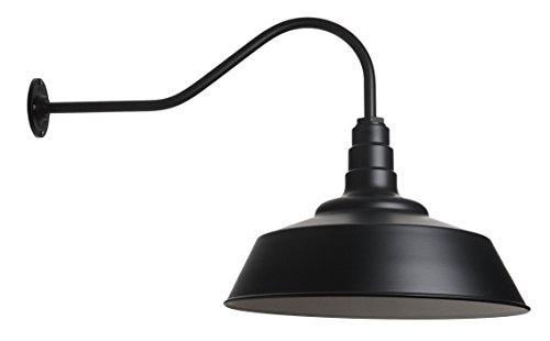 - Large Barn Lighting Dome and Gooseneck in Matte Black - Outdoor Use