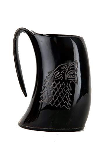 Buddha4all Juego de Tronos Stark House Viking - Taza de bocina (26 oz), diseño de Lobo Tallado para Cerveza de Vino Mead ale...