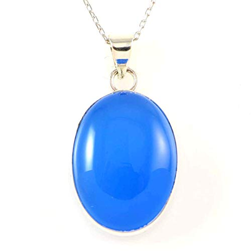 Sterling Silver Natural Oval Blue Agate Gemstone Handcrafted Pendant Necklace 16+2'' Chain