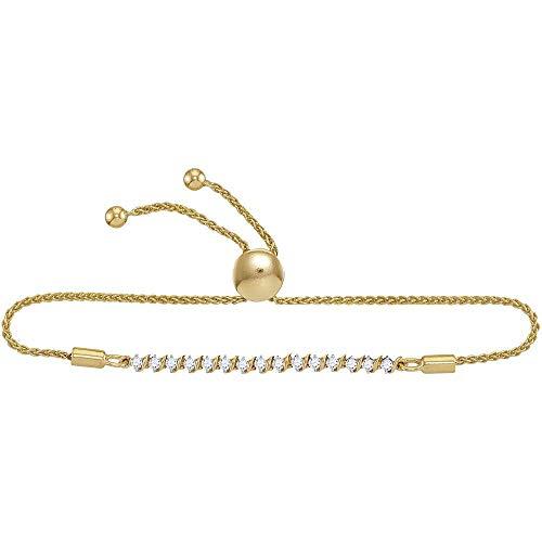 Diamond Single Row Bolo Bracelet 1/2ct 10k Yellow Gold