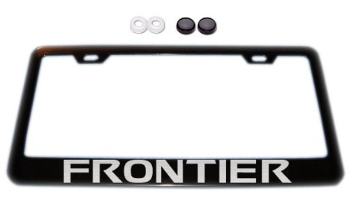 Nissan Frontier Black License Plate Frame w/ Screw Covers (Frontier License Plate Frame compare prices)