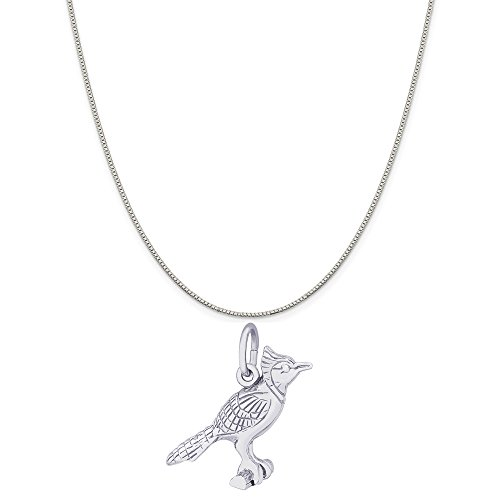 Rembrandt Charms Sterling Silver Blue Jay Charm on a Sterling Silver Box Chain Necklace, 18