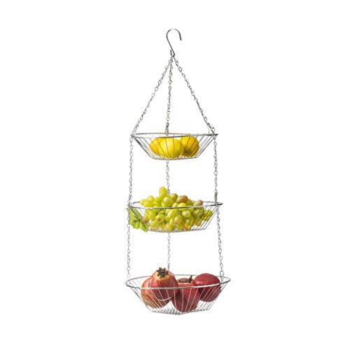 Deppon Hanging Fruit Basket 3-Tiered Wire Detachable Heavy Duty for Home Kitchen (Light Silver)