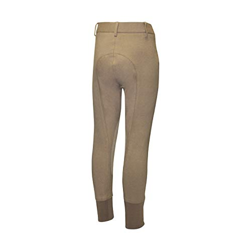 ELATION Horseback Riding Pants for Girls & Boys - Euro Seat Kids Riding Pants w/Leather Knee Patch & Thick Elastic Band, Tan Riding Tights for Equestrian Junior Competitor Classic Kids Breeches 8