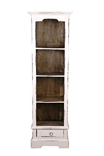 Sunset Trading CC-CAB1917TLD-WWRW Shabby Chic Cottage White Bookcase, Bookshelf with Drawer, Whitewash/Raftwood ()