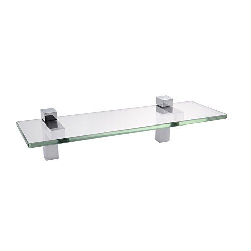 "KES Bathroom Tempered Glass Shelf 14"" 8MM-Thick Wall Mount Rectangular, Polished Chrome Bracket, BGS3201S35 for sale"