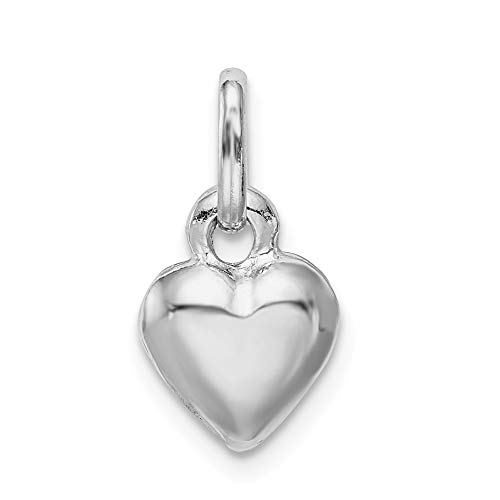 Mia Diamonds 925 Sterling Silver Rhodium Plated Puffed Heart Charm (12mm x 9mm)