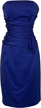 Strapless Satin Sheath Dress Formal Prom Bridesmaid Holiday Party Cocktail Gown, XS, royal