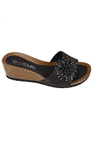 Wide Fit Women's Floral Applique Wedge Sandals With Diamante Details In True Eee Black