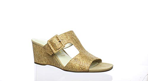 Anne Klein Women's NILLI Dress Sandal Wedge, Light Gold Cork 9 M US