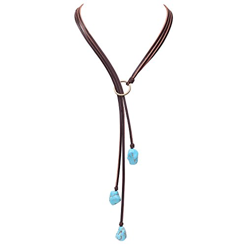 - Vintage Turquoise Pendant Necklace on Genuine Leather Cord Strand Girls Long Lariat Necklace Handmade Y-shaped Jewelry for Women Boho Gemstone Necklace on Valentine's Day
