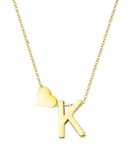 Hanpabum Gold Tone Initial Alphabet Heart Pendant Necklace A-Z Letter Pendant Choker Jewelry Gift Her (K)