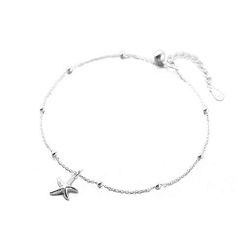 Sterling Silver Anklets for Women Teen Girls Cute Charm Boho Ankle Bracelet Star Moon Ball Bead Starfish Sequins Bell Dangling Adjustable Chains Beach Wedding Foot Jewelry Set Gift 10 inch -