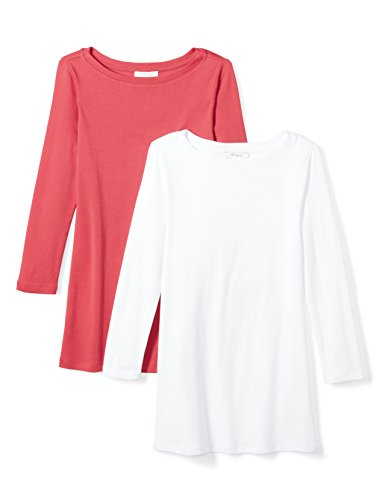 Daily Ritual Women's Midweight 100% Supima Cotton Rib Knit 3/4-Sleeve Boat Neck T-Shirt, 2-Pack, L, White/Cardinal Red (Supima Ribbed)