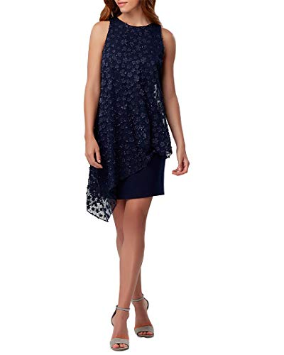 Tahari by ASL Women's Stretch Crepe Sheath with Embellished Chiffon Overlay Navy -
