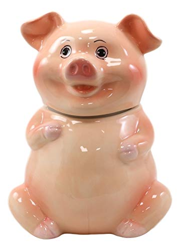 Ebros Animal Farm Bacon Porky Pig Ceramic Cookie Jar Container Figurine 8