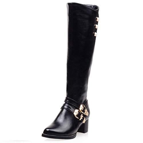 (GIY Women's Knee High Boots Wide Calf Buckles Chunky Low Heel Side Zipper Tall Dress Boots Mid Calf Pointed Toe Riding Boots Black)