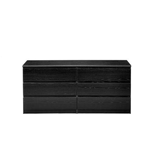 Pemberly Row Modern 6 Drawer Wide Double Dresser in Black Woodgrain