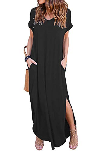 Womens Plain Summer Casual Loose Flowy Beach Long Maxi Sundresses Black (Cruise Size Maxi Dress Plus)