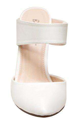 Bonnibel Maxine-1 Donna Scarpe A Punta Tacco Alto Cinturino Con Tacco Alto Scarpe Bianche