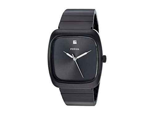 Casual Watch Square Face - Fossil Men's Rutherford Quartz Stainless-Steel-Plated Strap, Black, 22 Casual Watch (Model: FS5477)