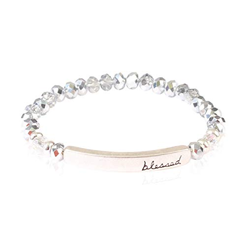 (RIAH FASHION Blessed, Amazing Grace Rondelle Beads Stretch Bracelet - Religious Engraved Message Bar Beaded Bracelets (Blessed - Silver))