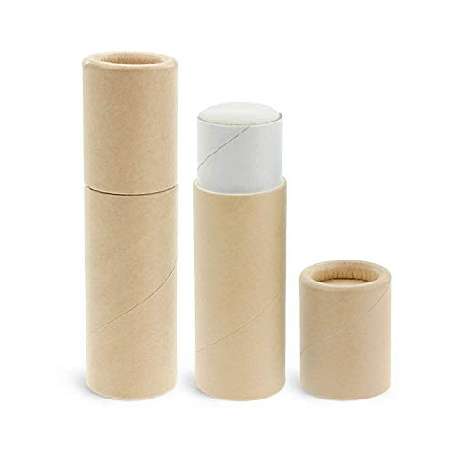 50 Pack, Inventiv Paperboard Lip Balm Tubes, Cardboard Chapstick Containers, Kraft Paper (0.3 oz, Kraft)