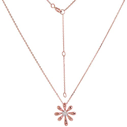 Dainty 14k Rose Gold Diamond Daisy Flower Necklace 16-18 inch 0.05 - Necklace Diamond Gold Daisy