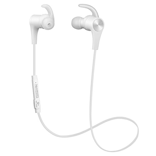 SoundPEATS Bluetooth Headphones Magnetic in-Ear Wireless Earbuds 4.1 Stereo Bluetooth Earphones for Sports Running with Mic (8 Hours Play Time, Hands-Free Calls, in-Line Control) - New White