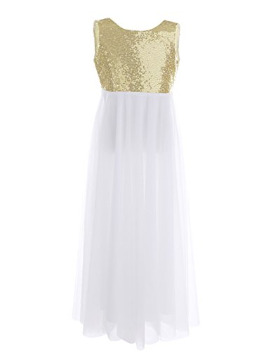 TiaoBug Girls Sequined Tulle Princess Flower Girls Dress V-Back with a Flower Brooch Wedding Pageant Party Long Gown Gold 14 ()