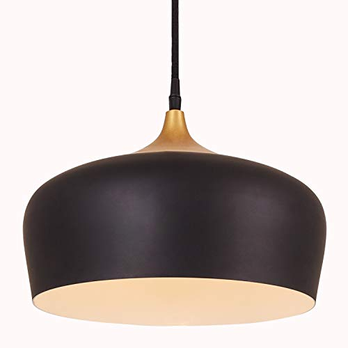 Metal Pendant Light, Briever 1 Light Dome Pendant Lamp, Black Braided Cable Chandelier, with LED Bulb (Pendant Led Lamps)