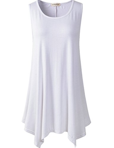 Lanmo Women Plus Size Solid Basic Flowy Tank Tops Summer Sleeveless Tunic(1X, White)