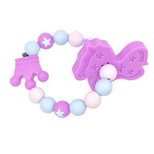 YeahiBaby Baby Teether Bracelet Toy Silicone Round Ring Nursing Bead Horse Pacifier Toy