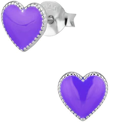Hypoallergenic Sterling Silver Heart Stud Earrings for Kids, Purple