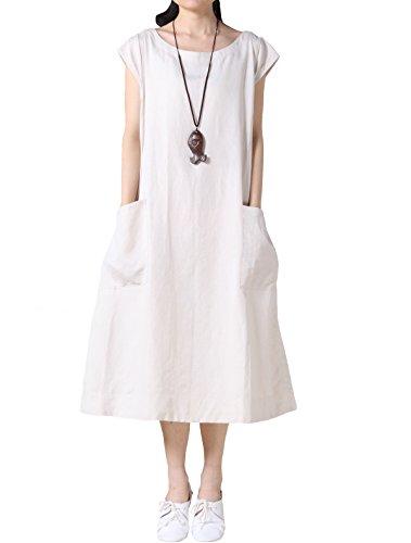 Mordenmiss Women's Summer Cap Sleeve Shift Dress with Pockets (Lined Linen Cap)